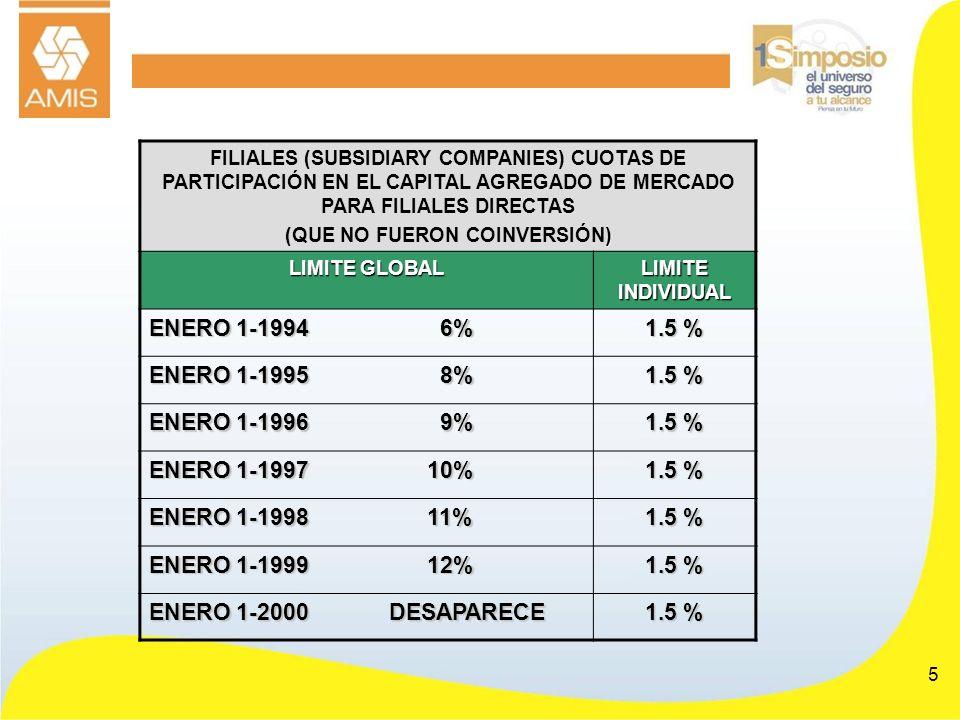 5 FILIALES (SUBSIDIARY COMPANIES) CUOTAS DE PARTICIPACIÓN EN EL CAPITAL AGREGADO DE MERCADO PARA FILIALES DIRECTAS ) (QUE NO FUERON COINVERSIÓN) LIMIT
