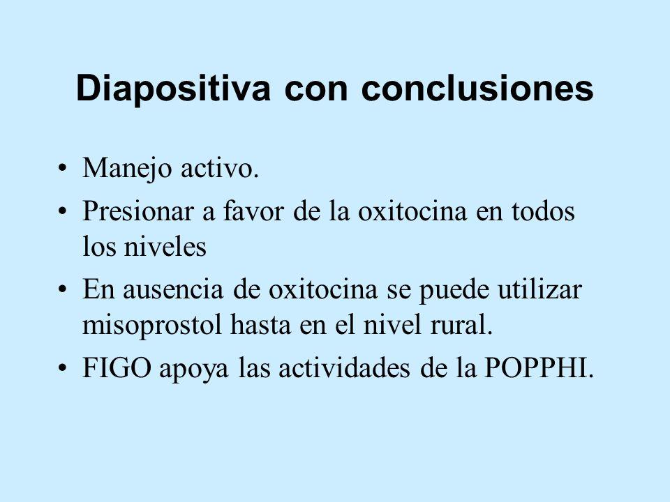 Diapositiva con conclusiones Manejo activo. Presionar a favor de la oxitocina en todos los niveles En ausencia de oxitocina se puede utilizar misopros