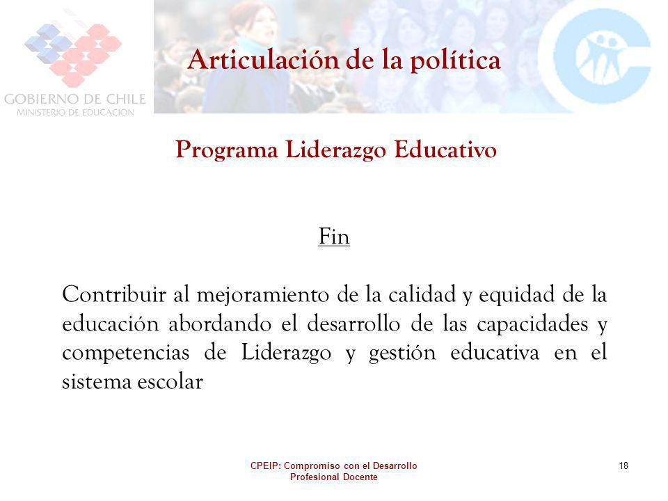 CPEIP: Compromiso con el Desarrollo Profesional Docente 18 Articulación de la política Programa Liderazgo Educativo Fin Contribuir al mejoramiento de