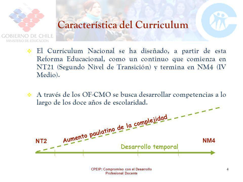 CPEIP: Compromiso con el Desarrollo Profesional Docente 4 Característica del Curriculum El Currículum Nacional se ha diseñado, a partir de esta Reform