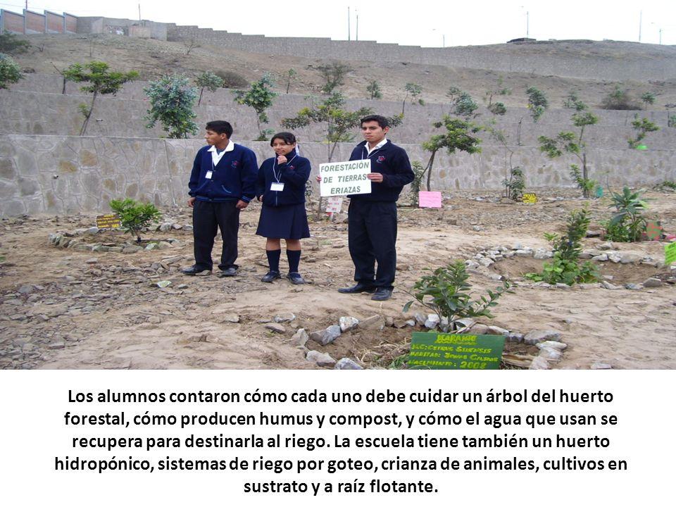 Los alumnos contaron cómo cada uno debe cuidar un árbol del huerto forestal, cómo producen humus y compost, y cómo el agua que usan se recupera para destinarla al riego.