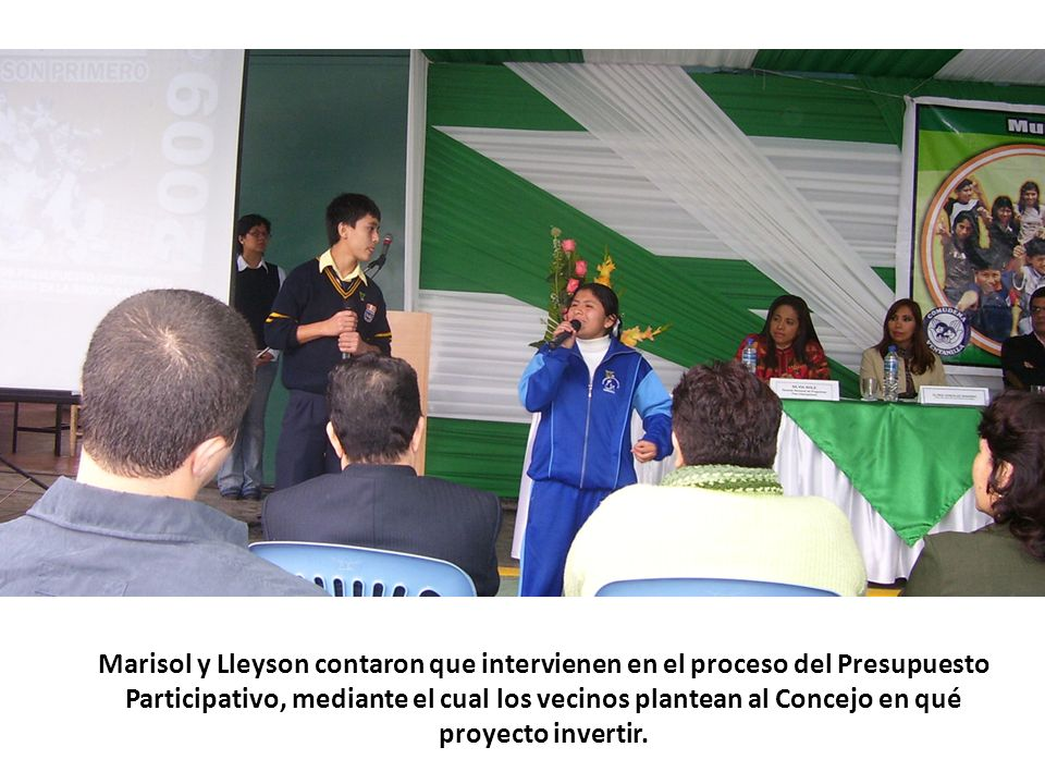 Marisol y Lleyson contaron que intervienen en el proceso del Presupuesto Participativo, mediante el cual los vecinos plantean al Concejo en qué proyecto invertir.