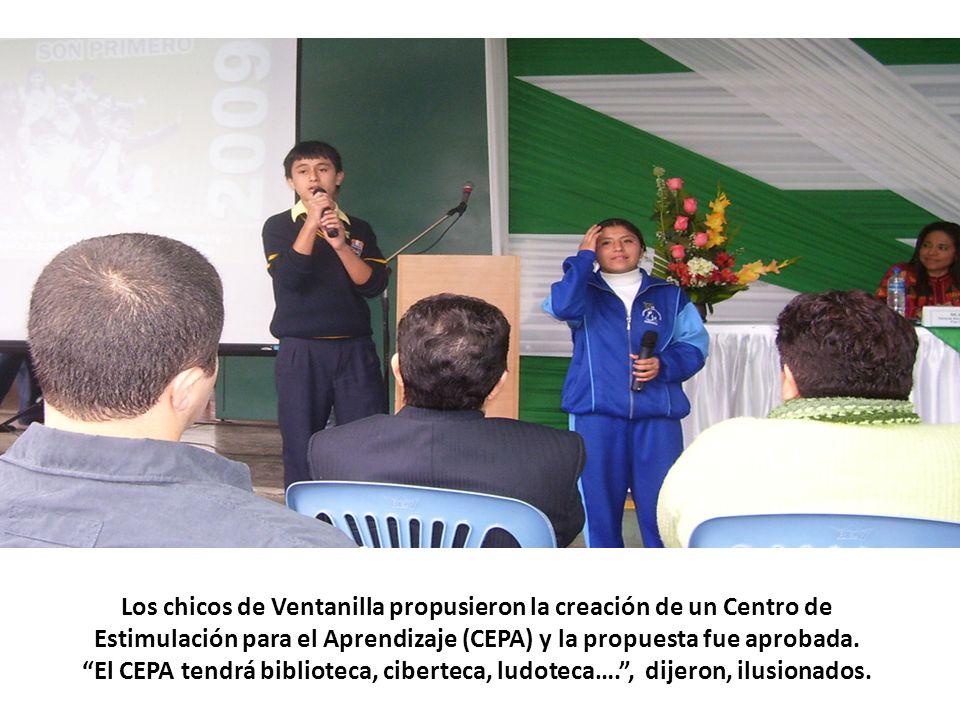 Los chicos de Ventanilla propusieron la creación de un Centro de Estimulación para el Aprendizaje (CEPA) y la propuesta fue aprobada. El CEPA tendrá b