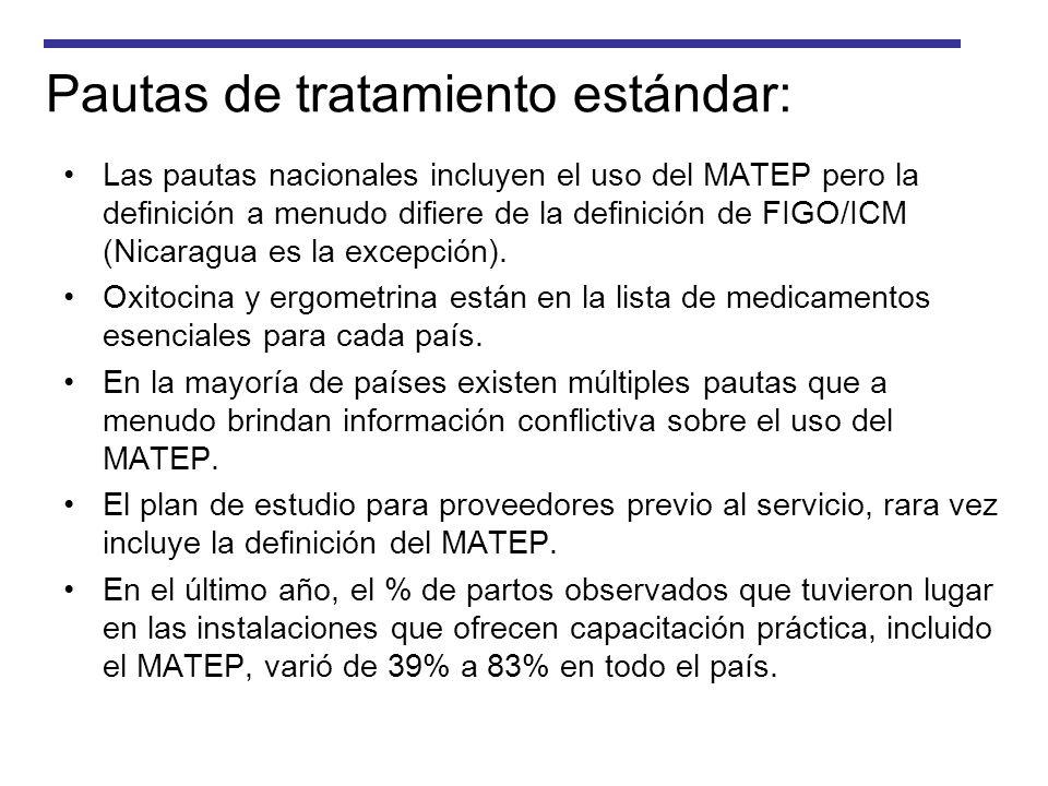 Pautas de tratamiento estándar: Las pautas nacionales incluyen el uso del MATEP pero la definición a menudo difiere de la definición de FIGO/ICM (Nica