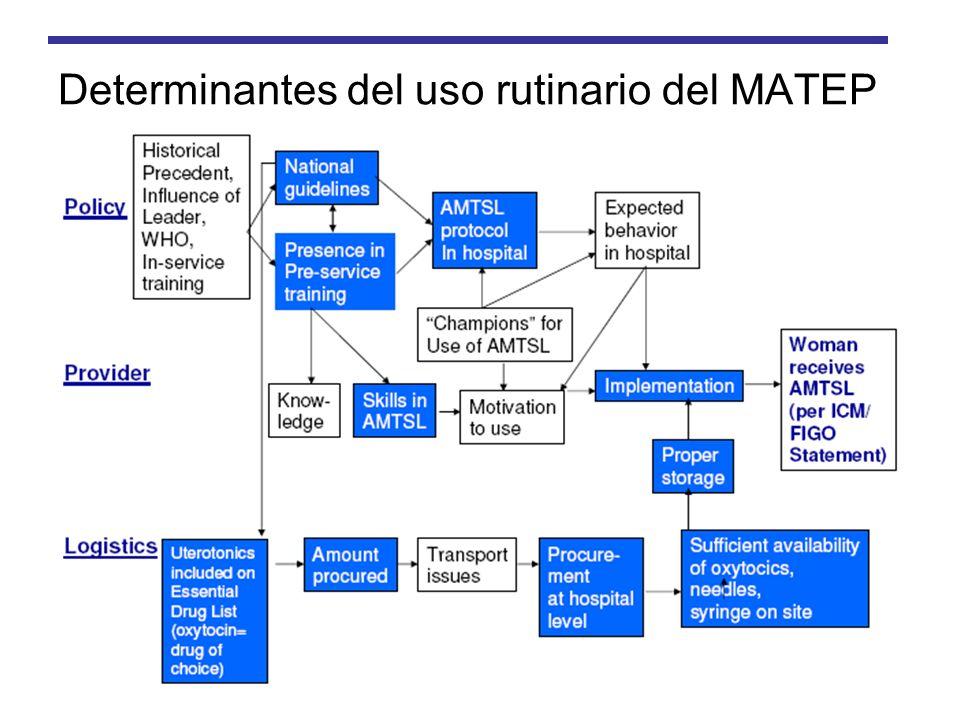 Determinantes del uso rutinario del MATEP