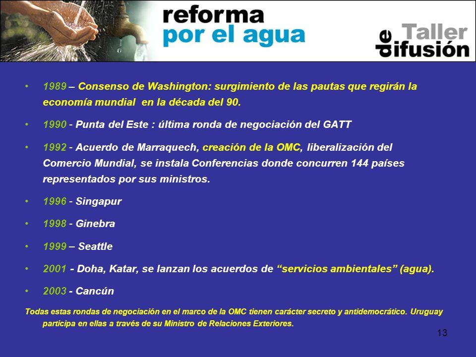 13 1989 – Consenso de Washington: surgimiento de las pautas que regirán la economía mundial en la década del 90. 1990 - Punta del Este : última ronda