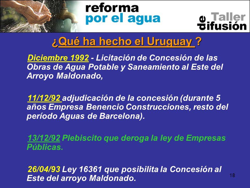 18 Diciembre 1992 - Licitación de Concesión de las Obras de Agua Potable y Saneamiento al Este del Arroyo Maldonado, 11/12/92 adjudicación de la conce