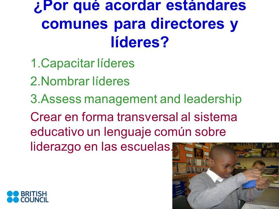 ¿Por qué acordar estándares comunes para directores y líderes? 1.Capacitar líderes 2.Nombrar líderes 3.Assess management and leadership Crear en forma