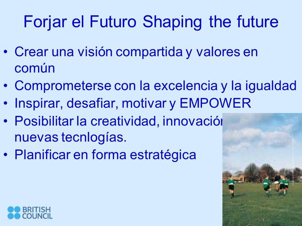 Forjar el Futuro Shaping the future Crear una visión compartida y valores en común Comprometerse con la excelencia y la igualdad Inspirar, desafiar, motivar y EMPOWER Posibilitar la creatividad, innovación y uso de nuevas tecnlogías.