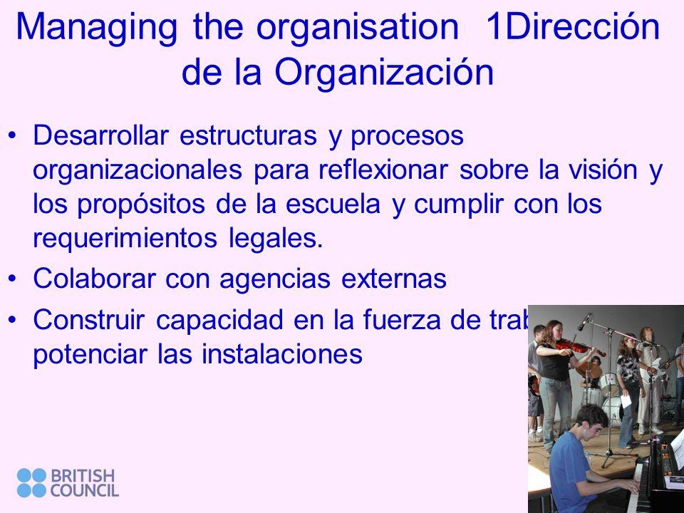 Managing the organisation 1Dirección de la Organización Desarrollar estructuras y procesos organizacionales para reflexionar sobre la visión y los propósitos de la escuela y cumplir con los requerimientos legales.