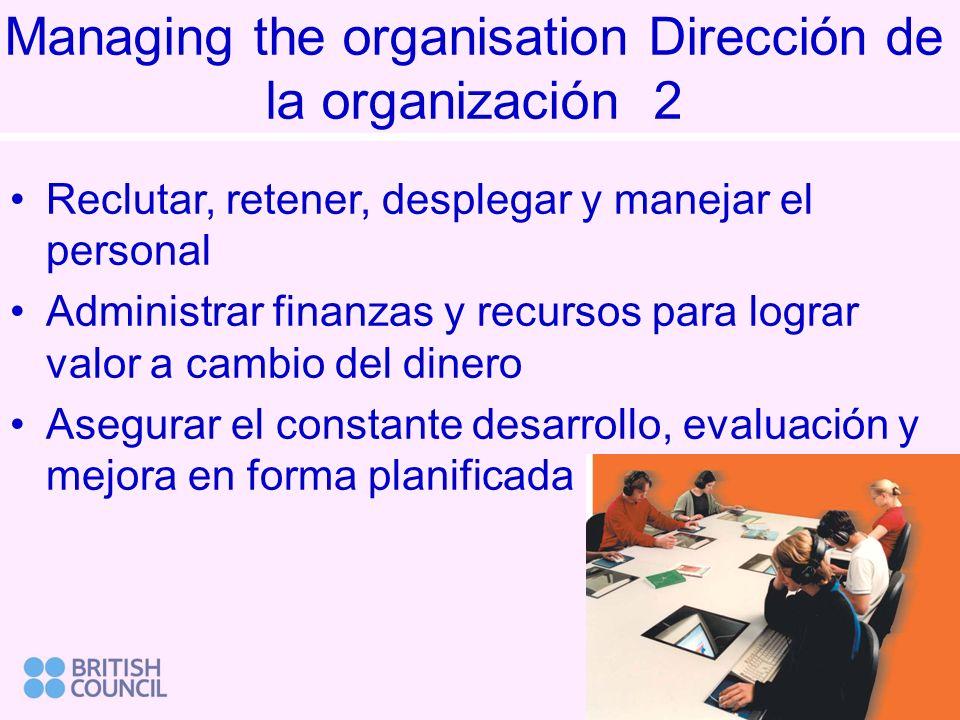 Managing the organisation Dirección de la organización 2 Reclutar, retener, desplegar y manejar el personal Administrar finanzas y recursos para lograr valor a cambio del dinero Asegurar el constante desarrollo, evaluación y mejora en forma planificada