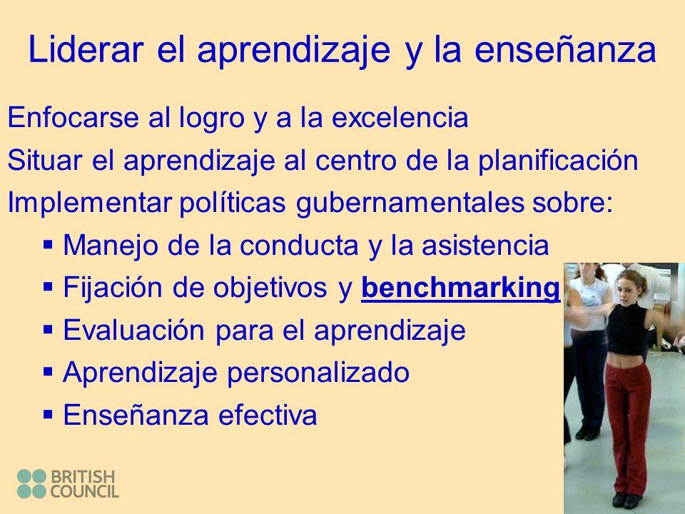 Liderar el aprendizaje y la enseñanza Enfocarse al logro y a la excelencia Situar el aprendizaje al centro de la planificación Implementar políticas gubernamentales sobre: Manejo de la conducta y la asistencia Fijación de objetivos y benchmarking Evaluación para el aprendizaje Aprendizaje personalizado Enseñanza efectiva