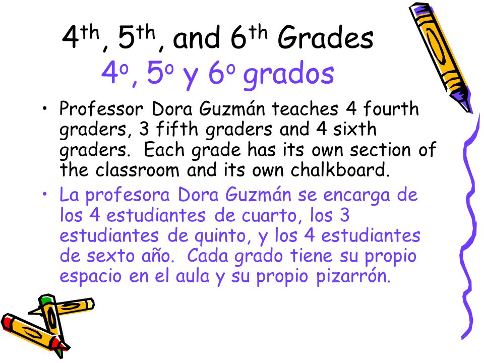 4 th, 5 th, and 6 th Grades 4 o, 5 o y 6 o grados Professor Dora Guzmán teaches 4 fourth graders, 3 fifth graders and 4 sixth graders. Each grade has