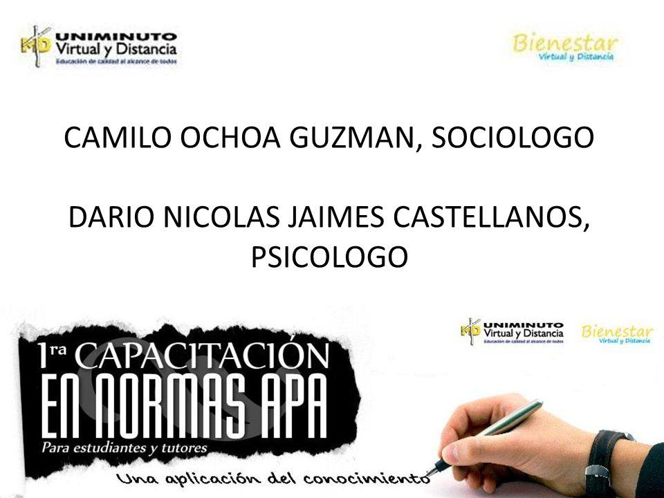 CAMILO OCHOA GUZMAN, SOCIOLOGO DARIO NICOLAS JAIMES CASTELLANOS, PSICOLOGO