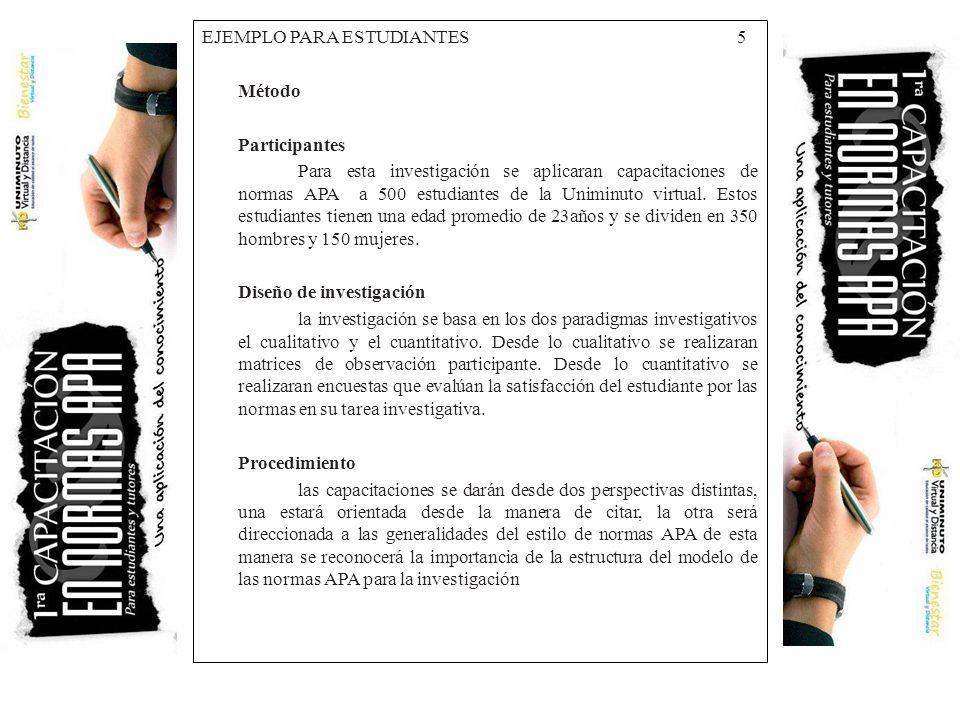 EJEMPLO PARA ESTUDIANTES 5 Método Participantes Para esta investigación se aplicaran capacitaciones de normas APA a 500 estudiantes de la Uniminuto vi