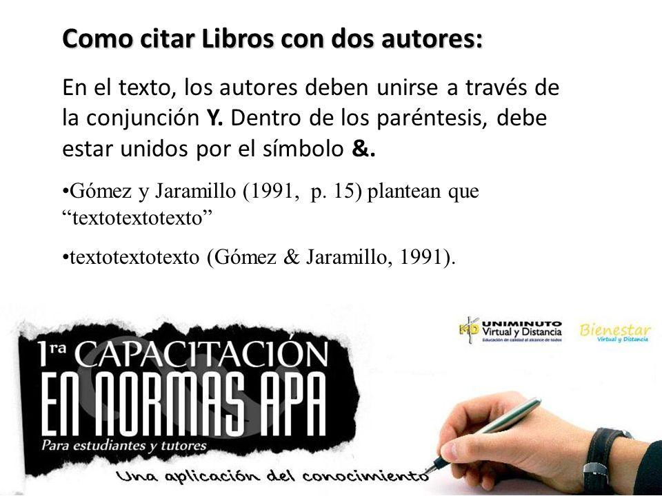 Como citar Libros con dos autores: En el texto, los autores deben unirse a través de la conjunción Y. Dentro de los paréntesis, debe estar unidos por