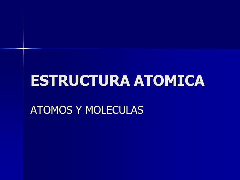 ESTRUCTURA ATOMICA ATOMOS Y MOLECULAS