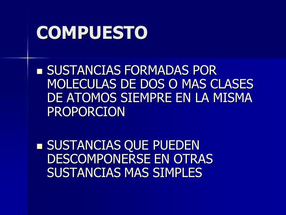 COMPUESTO SUSTANCIAS FORMADAS POR MOLECULAS DE DOS O MAS CLASES DE ATOMOS SIEMPRE EN LA MISMA PROPORCION SUSTANCIAS FORMADAS POR MOLECULAS DE DOS O MA