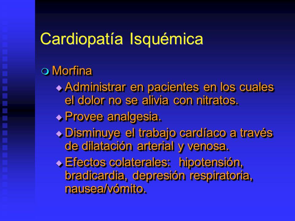 Cardiopatía Isquémica Morfina Morfina Administrar en pacientes en los cuales el dolor no se alivia con nitratos. Administrar en pacientes en los cuale