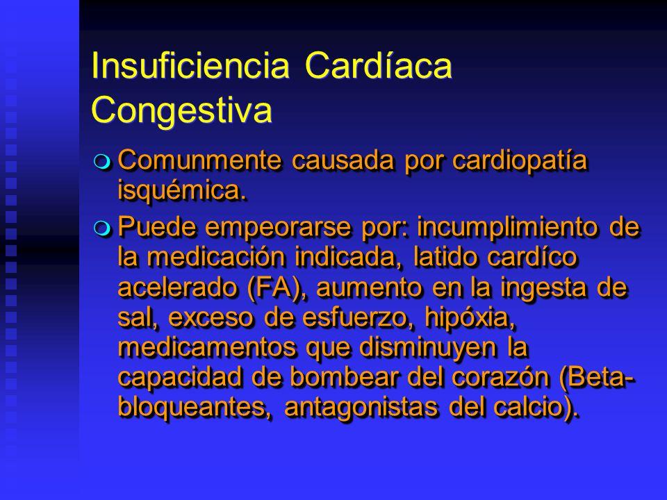 Insuficiencia Cardíaca Congestiva Comunmente causada por cardiopatía isquémica. Comunmente causada por cardiopatía isquémica. Puede empeorarse por: in