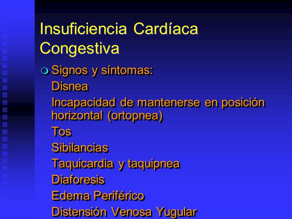 Insuficiencia Cardíaca Congestiva Signos y síntomas: Signos y síntomas:Disnea Incapacidad de mantenerse en posición horizontal (ortopnea) TosSibilancias Taquicardia y taquipnea Diaforesis Edema Periférico Distensión Venosa Yugular Signos y síntomas: Signos y síntomas:Disnea Incapacidad de mantenerse en posición horizontal (ortopnea) TosSibilancias Taquicardia y taquipnea Diaforesis Edema Periférico Distensión Venosa Yugular