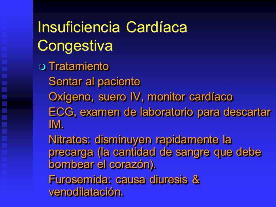 Insuficiencia Cardíaca Congestiva Tratamiento Tratamiento Sentar al paciente Oxígeno, suero IV, monitor cardíaco ECG, examen de laboratorio para descartar IM.