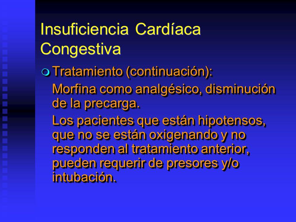 Insuficiencia Cardíaca Congestiva Tratamiento (continuación): Tratamiento (continuación): Morfina como analgésico, disminución de la precarga. Los pac