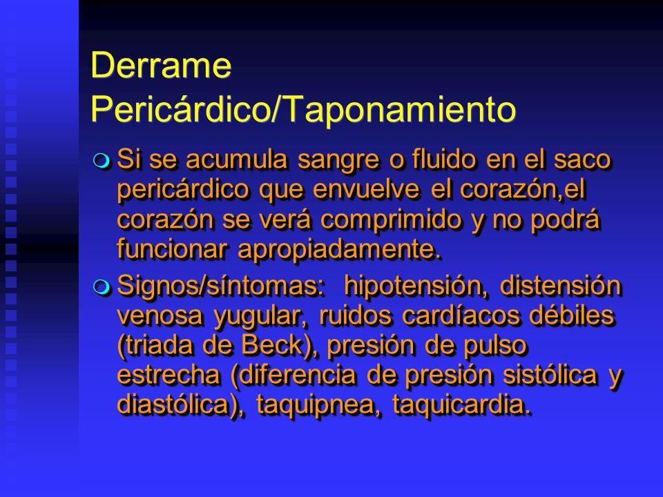 Derrame Pericárdico/Taponamiento Si se acumula sangre o fluido en el saco pericárdico que envuelve el corazón,el corazón se verá comprimido y no podrá