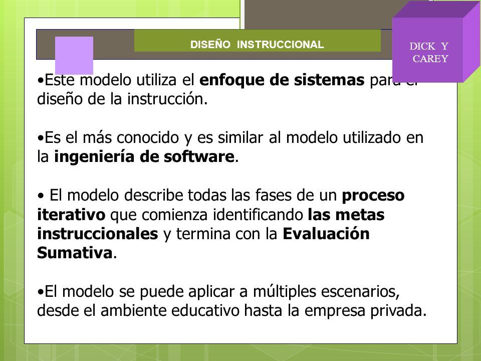 Este modelo utiliza el enfoque de sistemas para el diseño de la instrucción. Es el más conocido y es similar al modelo utilizado en la ingeniería de s