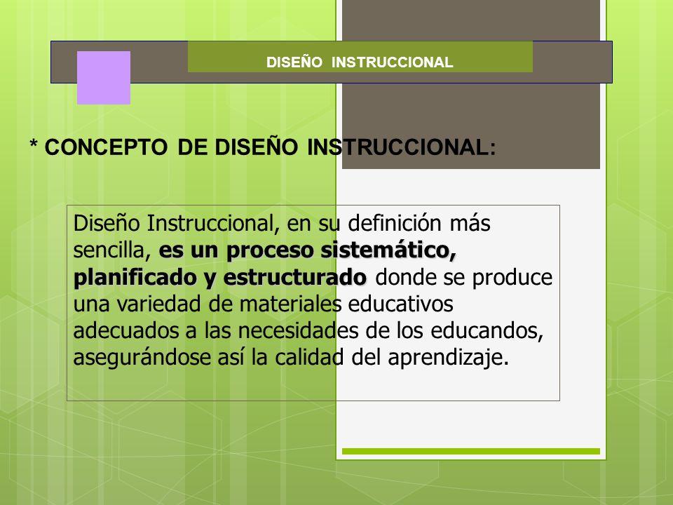 DISEÑO INSTRUCCIONAL * CONCEPTO DE DISEÑO INSTRUCCIONAL: es un proceso sistemático, planificado y estructurado Diseño Instruccional, en su definición