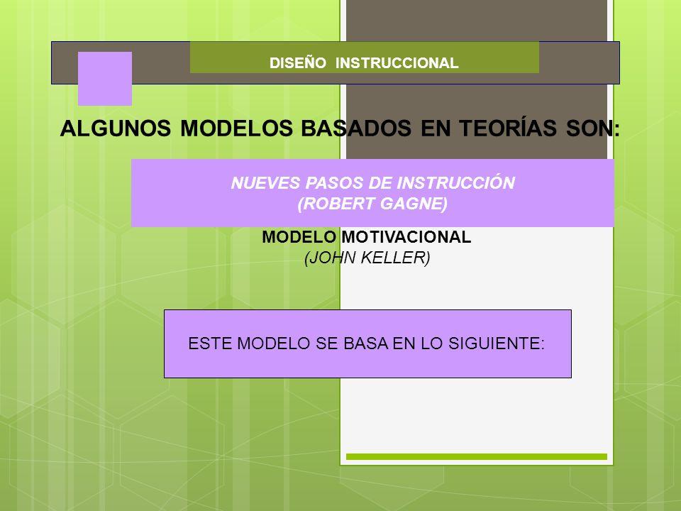 DISEÑO INSTRUCCIONAL ALGUNOS MODELOS BASADOS EN TEORÍAS SON: NUEVES PASOS DE INSTRUCCIÓN (ROBERT GAGNE) MODELO MOTIVACIONAL (JOHN KELLER) NUEVES PASOS