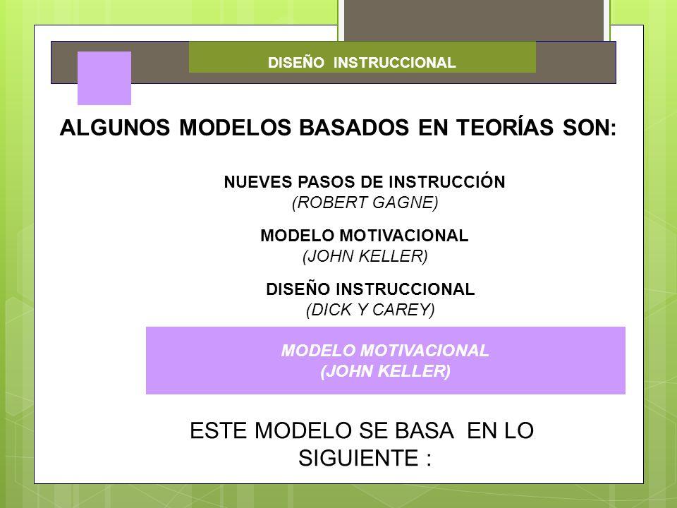 DISEÑO INSTRUCCIONAL ALGUNOS MODELOS BASADOS EN TEORÍAS SON: NUEVES PASOS DE INSTRUCCIÓN (ROBERT GAGNE) MODELO MOTIVACIONAL (JOHN KELLER) DISEÑO INSTR