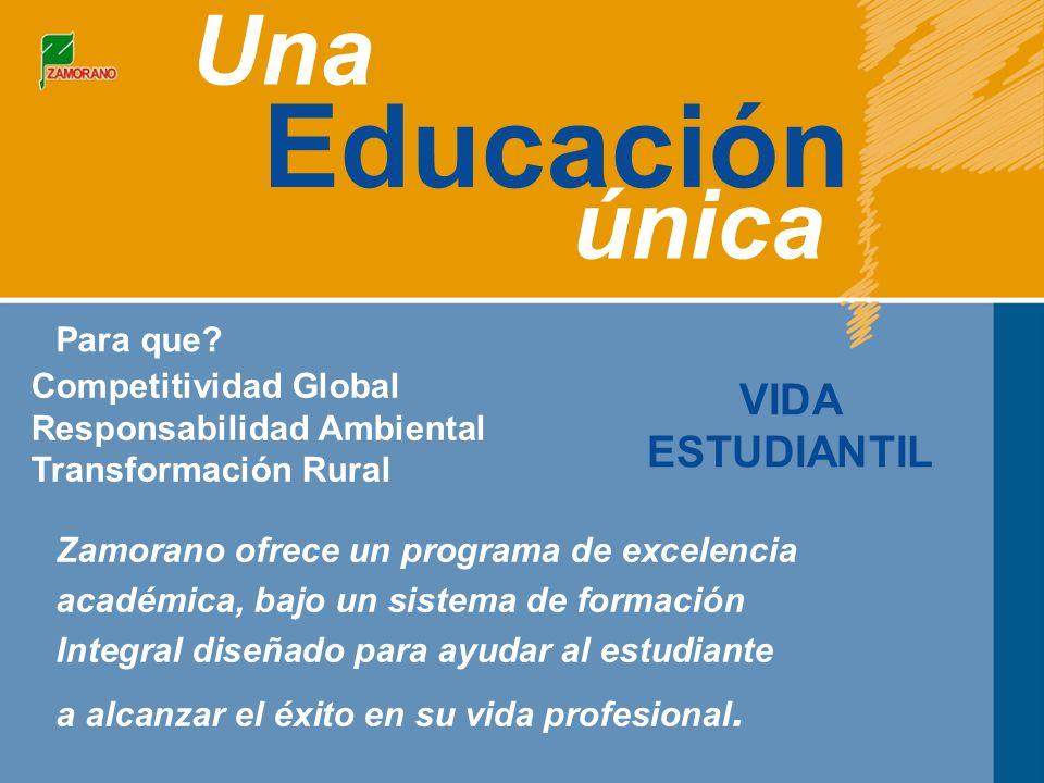 Educación Una única VIDA ESTUDIANTIL Competitividad Global Responsabilidad Ambiental Transformación Rural Para que.