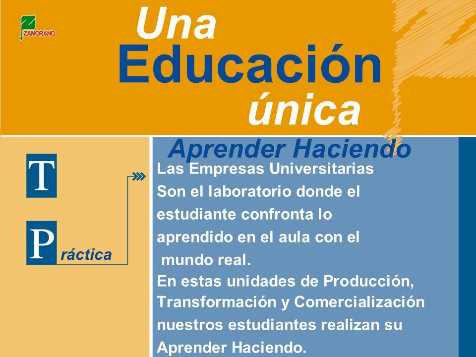 Educación Una única ráctica Aprender Haciendo Las Empresas Universitarias Son el laboratorio donde el estudiante confronta lo aprendido en el aula con el mundo real.