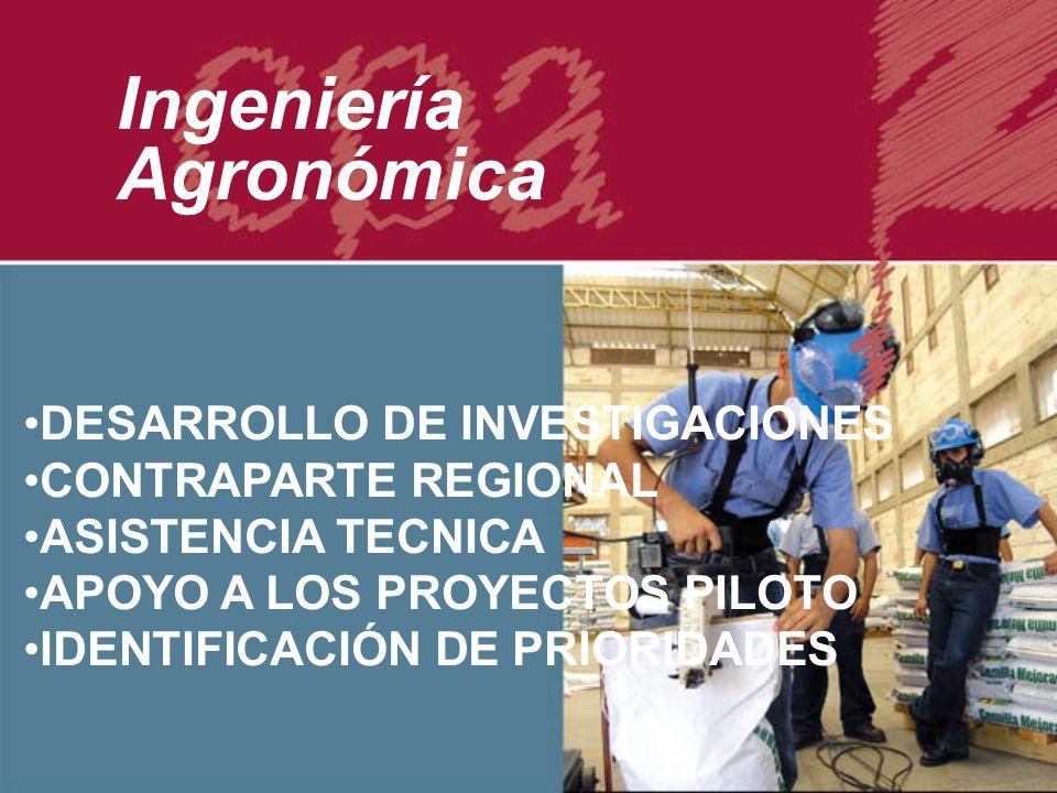 DESARROLLO DE INVESTIGACIONES CONTRAPARTE REGIONAL ASISTENCIA TECNICA APOYO A LOS PROYECTOS PILOTO IDENTIFICACIÓN DE PRIORIDADES Ingeniería Agronómica