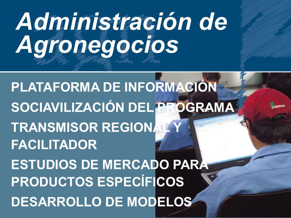 Administración de Agronegocios PLATAFORMA DE INFORMACIÓN SOCIAVILIZACIÓN DEL PROGRAMA TRANSMISOR REGIONAL Y FACILITADOR ESTUDIOS DE MERCADO PARA PRODUCTOS ESPECÍFICOS DESARROLLO DE MODELOS