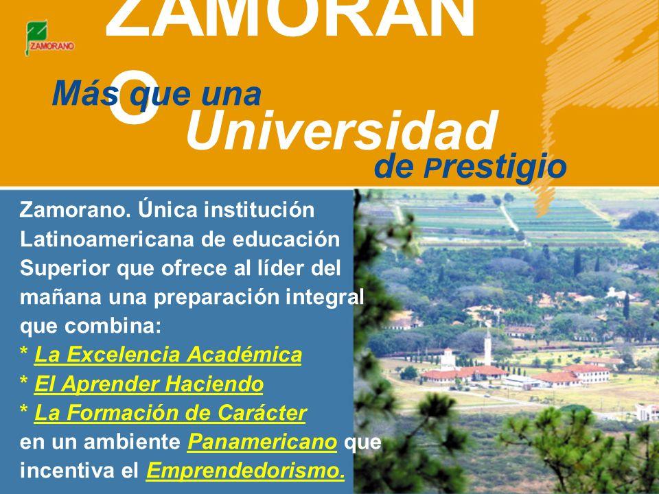 En un ambiente panamericano (900 estudiantes provenientes de más de 22 países) Experiencia Vive una Única en Zamorano 65 años de experiencia Un campus de 7 mil hectáreas a 30 km.