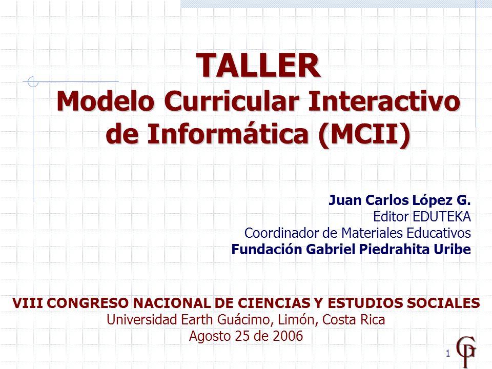 12 Se publicaron en EDUTEKA los siguientes documentos de uso libre y gratuito : Propuesta de modelo curricular (formato.doc) Actas de las reuniones Mensajes de la lista de discusión MODELO CURRICULAR DE INFORMÁTICA - Socialización - http://www.eduteka.org/curriculo2/Creditos.php http://www.eduteka.org/curriculo2/Descargas.php