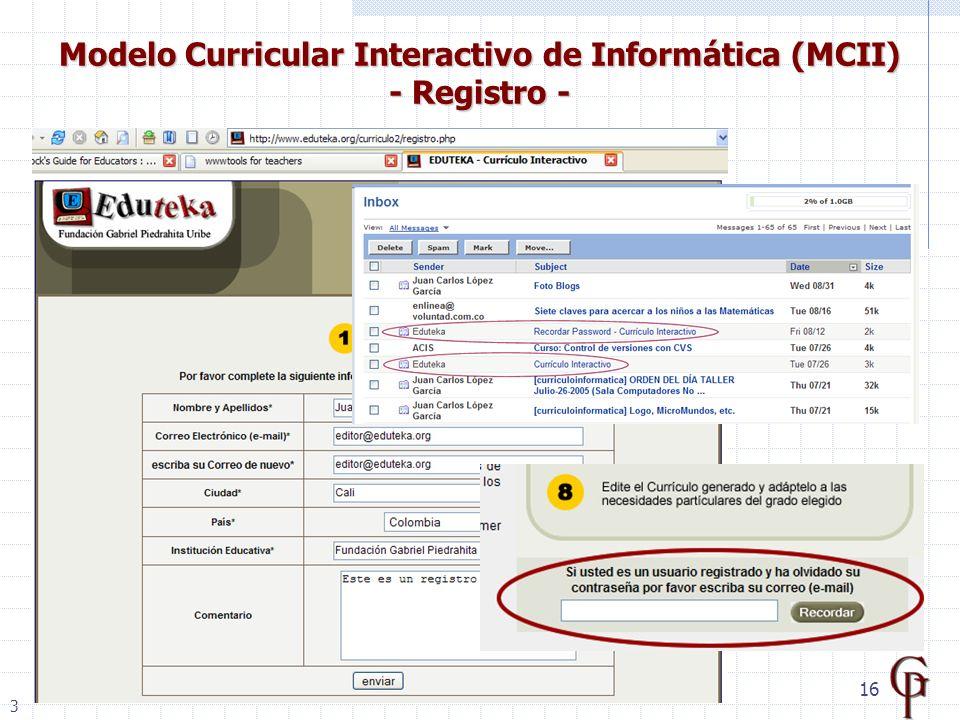 16 Modelo Curricular Interactivo de Informática (MCII) - Registro - 3