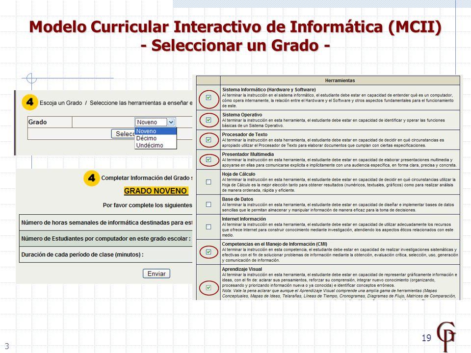 19 Modelo Curricular Interactivo de Informática (MCII) - Seleccionar un Grado - 3