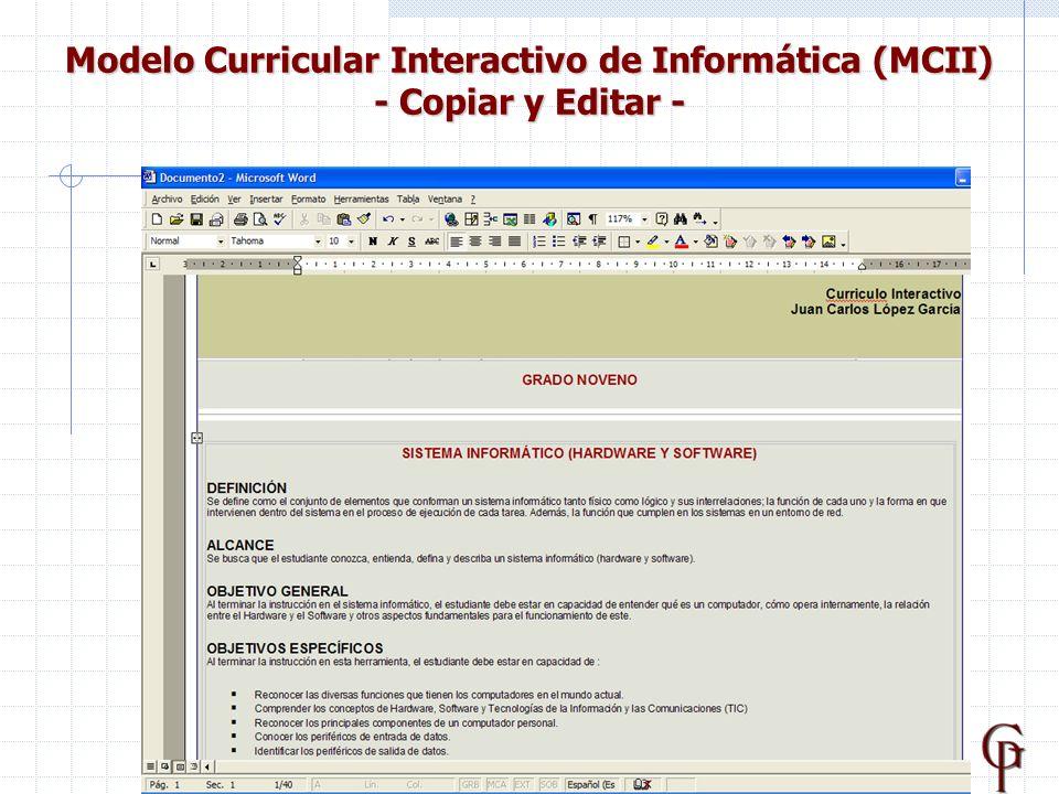 22 Modelo Curricular Interactivo de Informática (MCII) - Copiar y Editar -