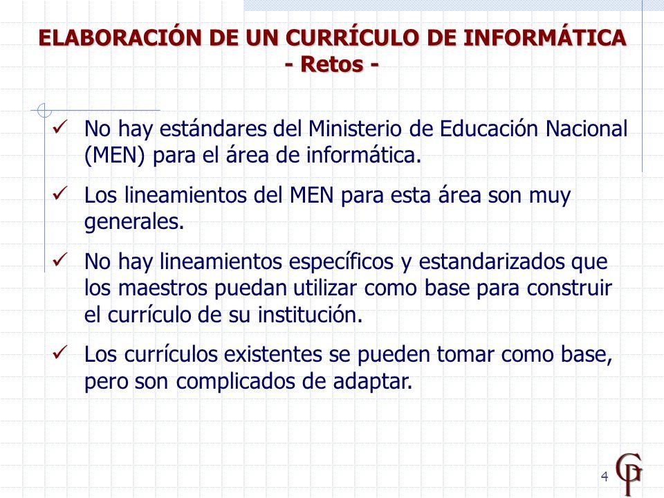 5 Cada institución educativa tiene sus propias características con respecto a la enseñanza de Informática.