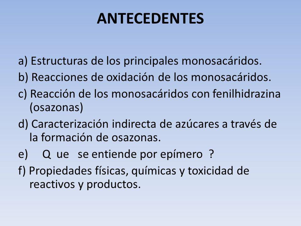 ANTECEDENTES a) Estructuras de los principales monosacáridos. b) Reacciones de oxidación de los monosacáridos. c) Reacción de los monosacáridos con fe