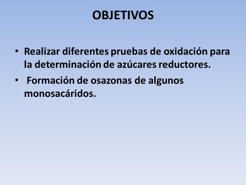 OBJETIVOS Realizar diferentes pruebas de oxidación para la determinación de azúcares reductores. Formación de osazonas de algunos monosacáridos.