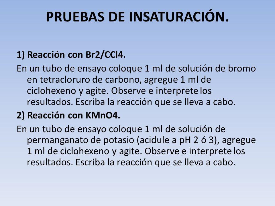 PRUEBAS DE INSATURACIÓN. 1) Reacción con Br2/CCl4. En un tubo de ensayo coloque 1 ml de solución de bromo en tetracloruro de carbono, agregue 1 ml de