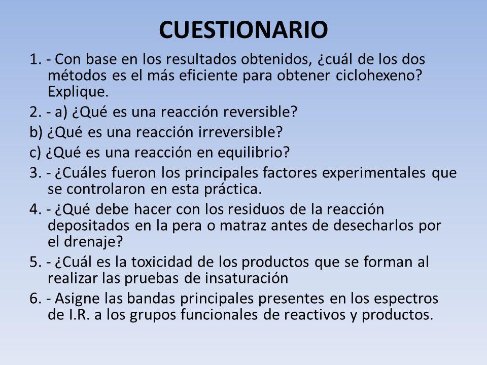CUESTIONARIO 1. - Con base en los resultados obtenidos, ¿cuál de los dos métodos es el más eficiente para obtener ciclohexeno? Explique. 2. - a) ¿Qué