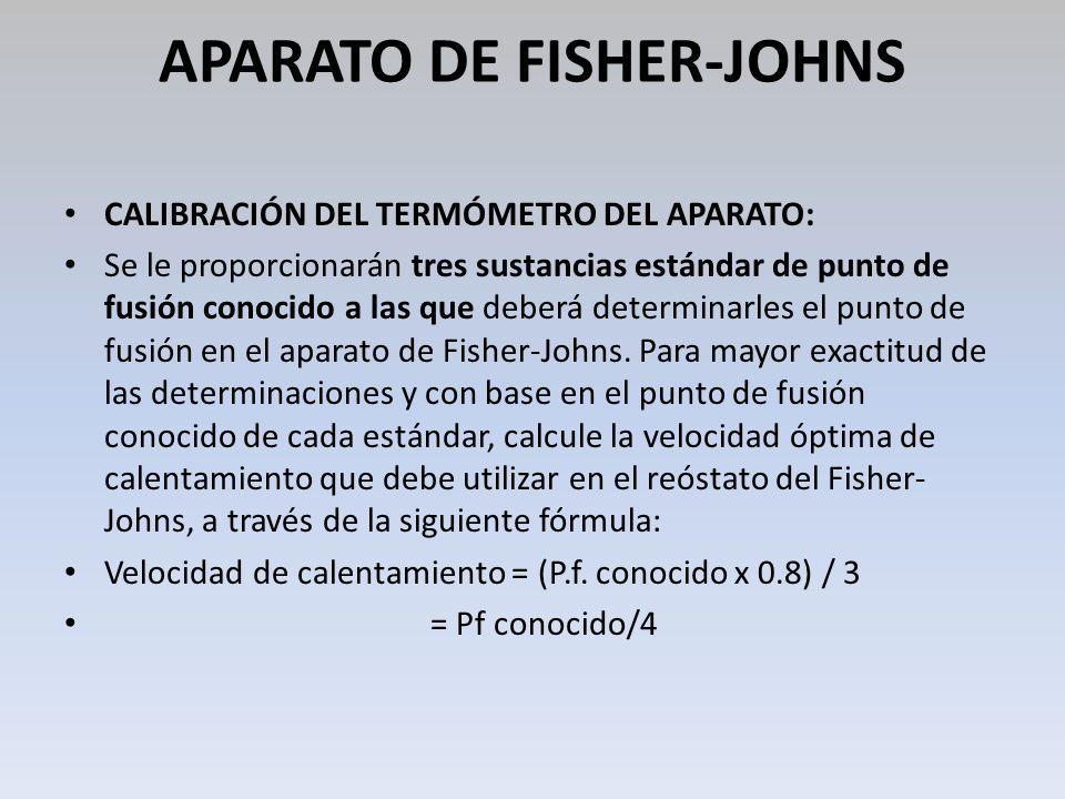 APARATO DE FISHER-JOHNS CALIBRACIÓN DEL TERMÓMETRO DEL APARATO: Se le proporcionarán tres sustancias estándar de punto de fusión conocido a las que de