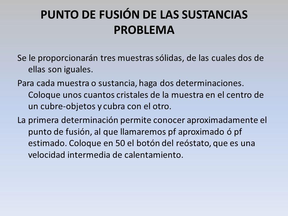 PUNTO DE FUSIÓN DE LAS SUSTANCIAS PROBLEMA Se le proporcionarán tres muestras sólidas, de las cuales dos de ellas son iguales. Para cada muestra o sus