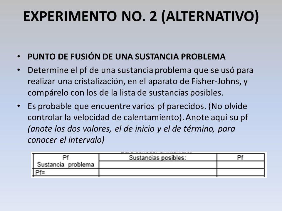 EXPERIMENTO NO. 2 (ALTERNATIVO) PUNTO DE FUSIÓN DE UNA SUSTANCIA PROBLEMA Determine el pf de una sustancia problema que se usó para realizar una crist