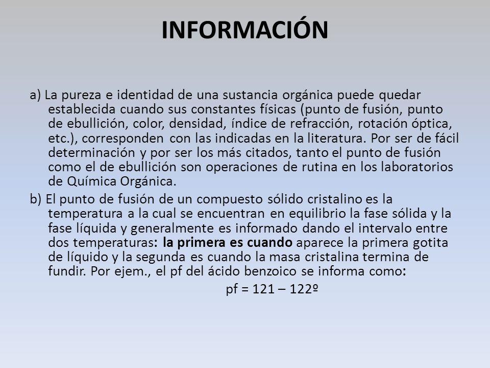 INFORMACIÓN a) La pureza e identidad de una sustancia orgánica puede quedar establecida cuando sus constantes físicas (punto de fusión, punto de ebull